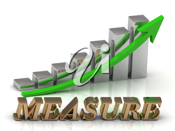 MEASURE- inscription of gold letters and Graphic growth and gold arrows on white background