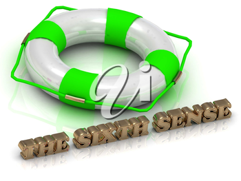 THE SIXTH SENSE - bright gold letters and color life buoy on a white background