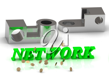 NETWORK- words of color letters and silver details on white background