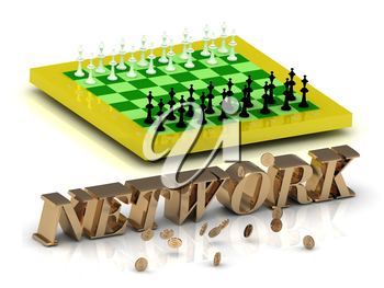 NETWORK- bright gold letters money and yellow chess on white background
