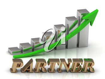 PARTNER- inscription of gold letters and Graphic growth and gold arrows on white background