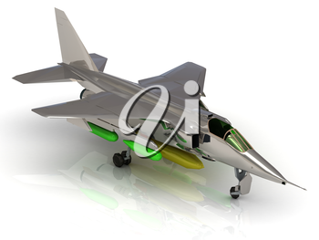Military army jet airplane with bomb during airshow on white background