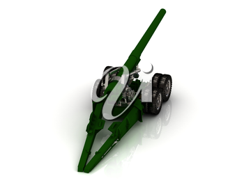 Howitzer green and silver closeup Isolated on white background. Quality of medium format