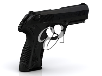 Black modern gun with pimply handle on white background