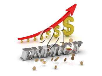 ENERGY bright silver letters and graphic growing dollars and red arrow on a white background