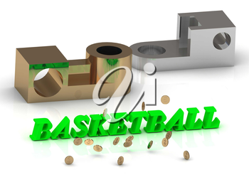 BASKETBALL - words of color letters and silver and bronze details on white background