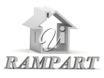 RAMPART- inscription of silver letters and white house on white background