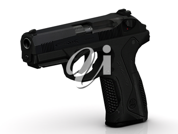 Gunpoint with patron and full cartridge clip on white background