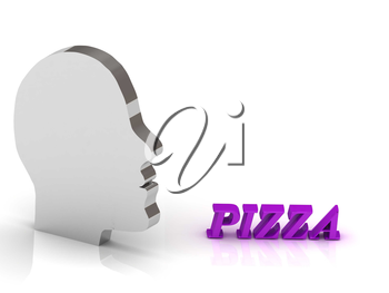 PIZZA bright color letters and silver head mind on a white background