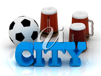 CITY blue bright word, football, 3 cup beer on white background