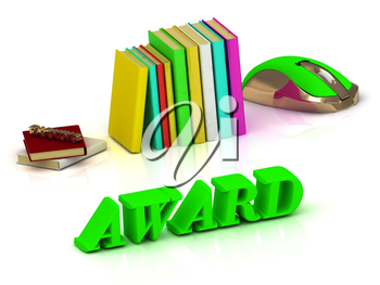 AWARD  inscription bright volume letter and textbooks and computer mouse on white background