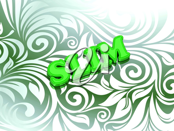 SLIM bright color letters on nice green ornament background