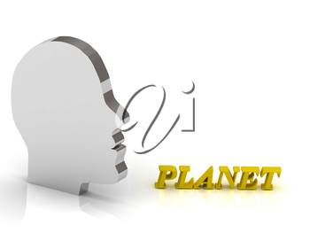 PLANET bright color letters and silver head mind on a white background