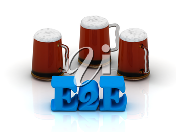 E2E blue bright word, football, 3 cup beer on white background