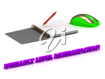 INTELLECT LEVEL DETERMINATION  inscription bright volume letter and textbooks and computer mouse on white background