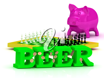 BEER bright word, money, pink piggy, yellow chess on white background