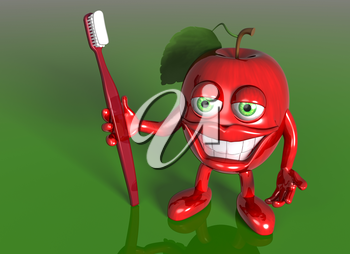 Royalty Free Clipart Image of an Apple with Eyes and Teeth Holding a Toothbrush