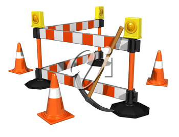 Royalty Free Clipart Image of a Construction Barricade and Pylons