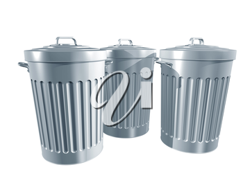 Royalty Free Clipart Image of Trash Cans
