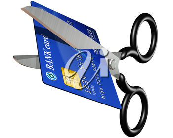 Royalty Free Clipart Image of a Pair of Scissors Cutting up a Bank Card