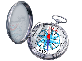 Royalty Free Clipart Image of a Compass to Help Make Decisions