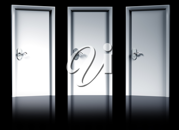 Royalty Free Clipart Image of a Three Doors
