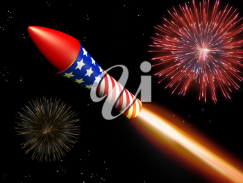 Royalty Free Clipart Image of a Firework Shooting in the Air