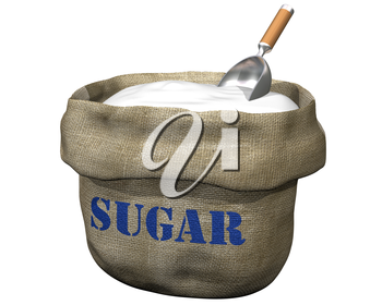 Royalty Free Clipart Image of a Bag Full of Sugar