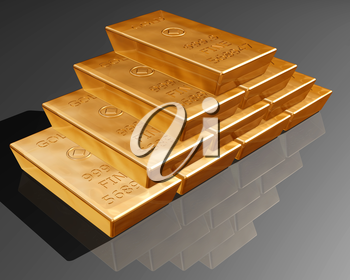 Royalty Free Clipart Image of Gold Money Bars