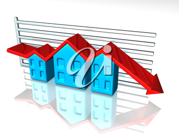 Royalty Free Clipart Image of an Arrow Graph with Houses