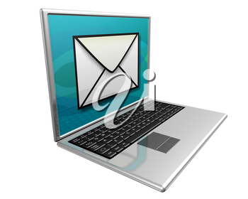 Royalty Free Clipart Image of a Laptop with a Picture of an Envelope on the Screen