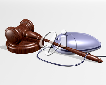 Royalty Free Clipart Image of a Gavel and a Computer Mouse