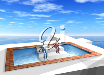 Royalty Free Clipart Image of an Optical Illusion of a Pool in an Ocean
