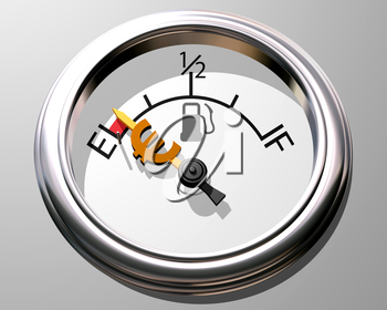 Royalty Free Clipart Image of a Fuel Gauge Low on Fuel with a Euro Sign