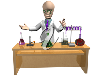 Royalty Free Clipart Image of a Cartoon Professor with a Science Experiment