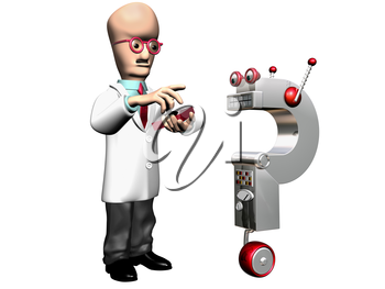 Royalty Free Clipart Image of a Cartoon Professor with an Invention