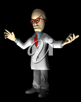 Royalty Free Clipart Image of a Cartoon Professor