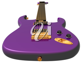 Royalty Free Clipart Image of a Purple Electric Guitar