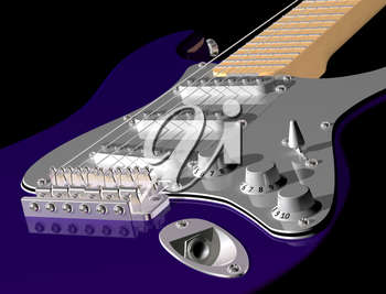 Royalty Free Clipart Image of Blue Electric Guitar