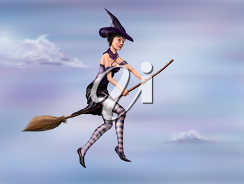 Royalty Free Clipart Image of a Witch Flying on her Broom