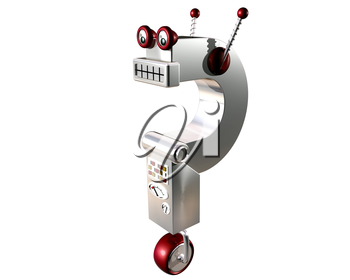 Royalty Free Clipart Image of a Robot in the Shape of a Questions Mark