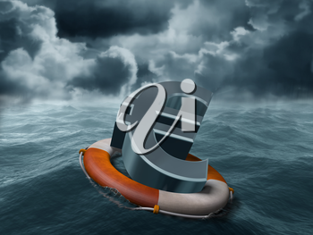 Royalty Free Clipart Image of an Euro Sign Floating in Water in a Buoy