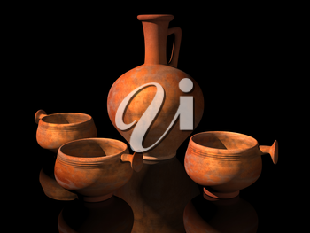 Royalty Free Clipart Image of Roman Pottery