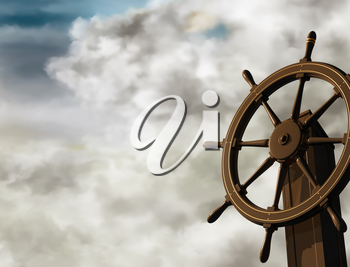 Royalty Free Clipart Image of a Ship's Wheel at an Oblique angle on a Cloudy Day