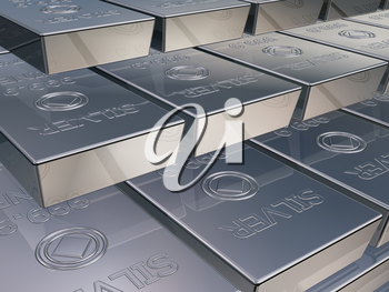 Royalty Free Clipart Image of Silver Reserves Piled High in a Stack