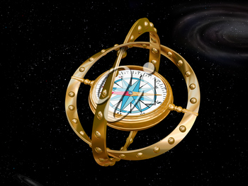 Illustration of a compass navigating the bizarre nature of curved space