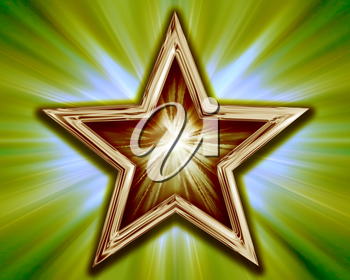 Royalty Free Clipart Image of a Gold Star on a Striking Background