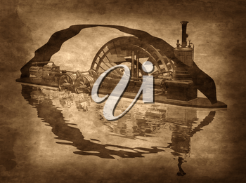 Royalty Free Clipart Image of a Grungy Steampunk Riverboat on a Sepia Background