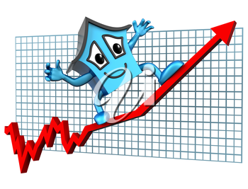 Isolated illustration of a house surfing skywards on a rising graph