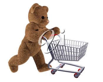 Isolated illustration of teddy pushing a shopping cart